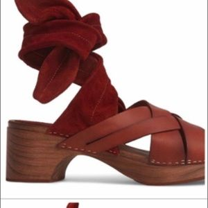 Free people burgundy suede clog